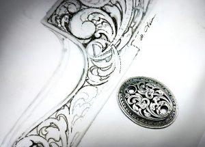 dessin d'un motif de gravure sur arme